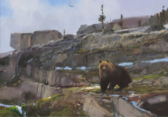 Michael Coleman Painting Grizzly on Polo Pass Oil on Board