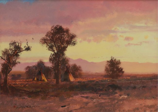 Michael Coleman Painting On the Chalk River Oil on Board