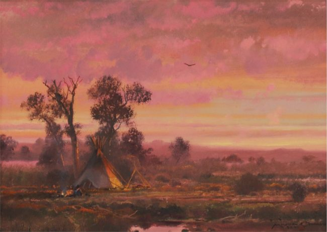 Michael Coleman Painting Sunset Camp Oil on Board
