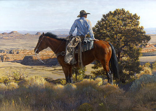 Mikel Donahue Painting Ridin' The High Lonesome Acrylic on Board