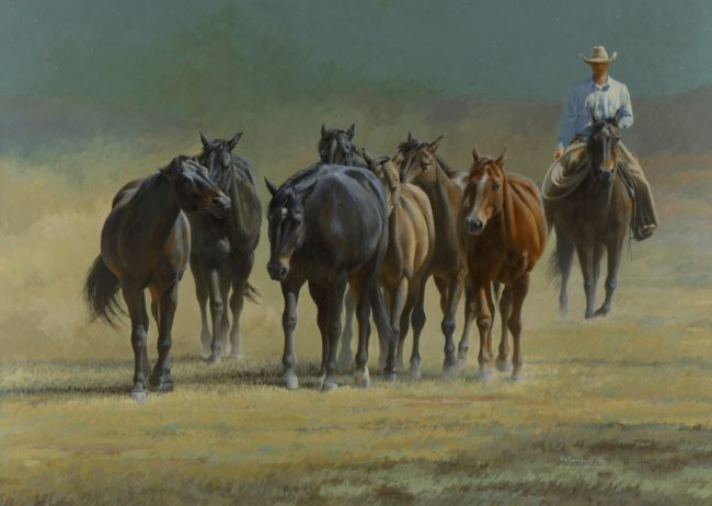 Mikel Donahue Painting Bringing in His String Acrylic on Board