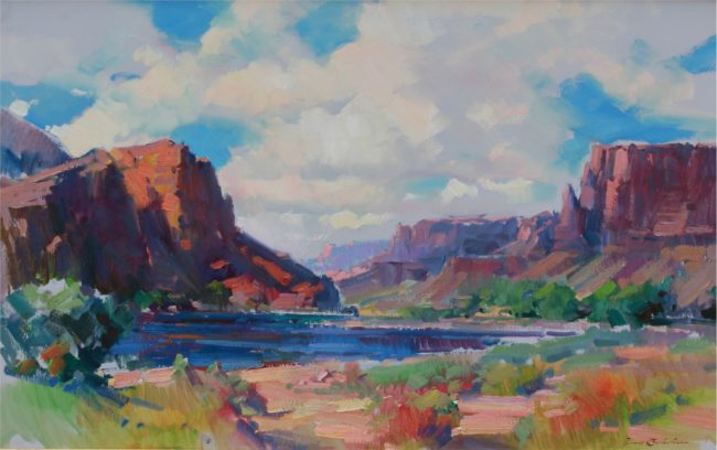 Ovanes Berberian Painting By The Colorado River Oil on Canvas