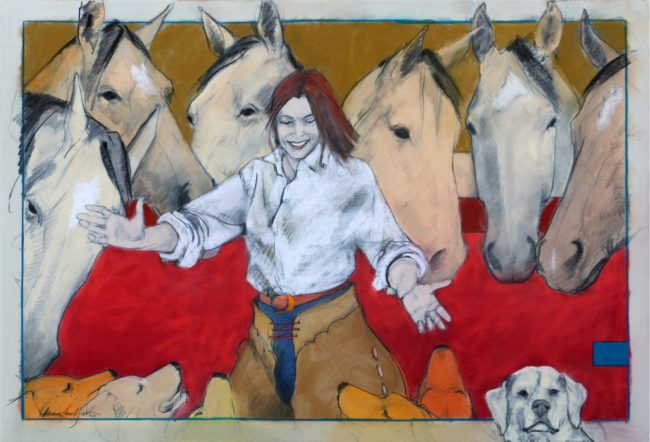 Donna Howell-Sickles  Gather 'Round Mixed Media on Paper