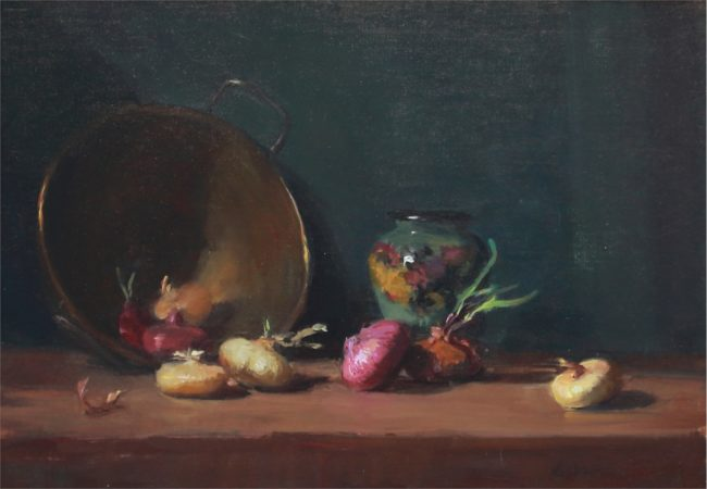 Nancy Chaboun Painting Cipollini's and Gauda Pottery Oil on Board