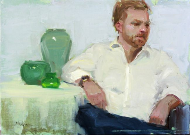 Nancy Chaboun Painting James With Green Jars Oil on Board