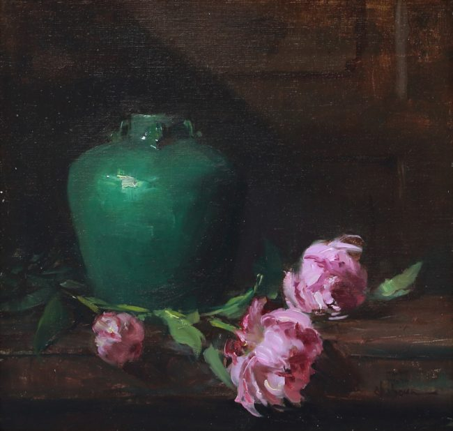 Nancy Chaboun Painting Ming Vase and Peonies Oil on Board