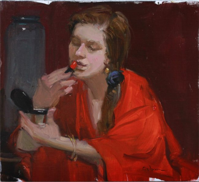 Nancy Chaboun Painting Power Red Oil on Board