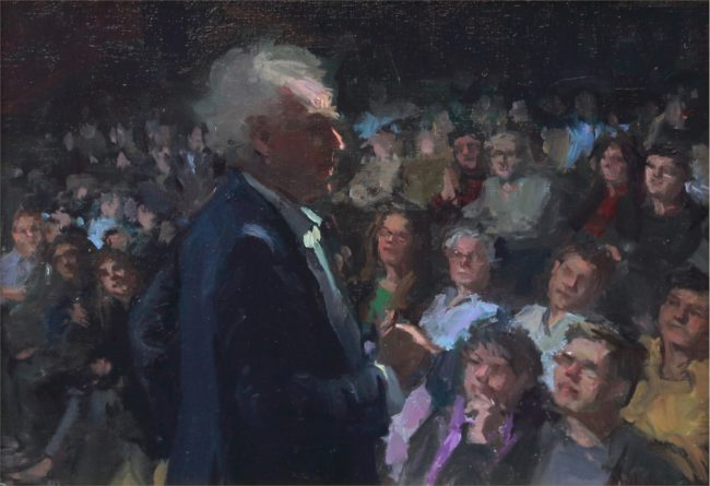 Nancy Chaboun Painting The Audience Oil on Board