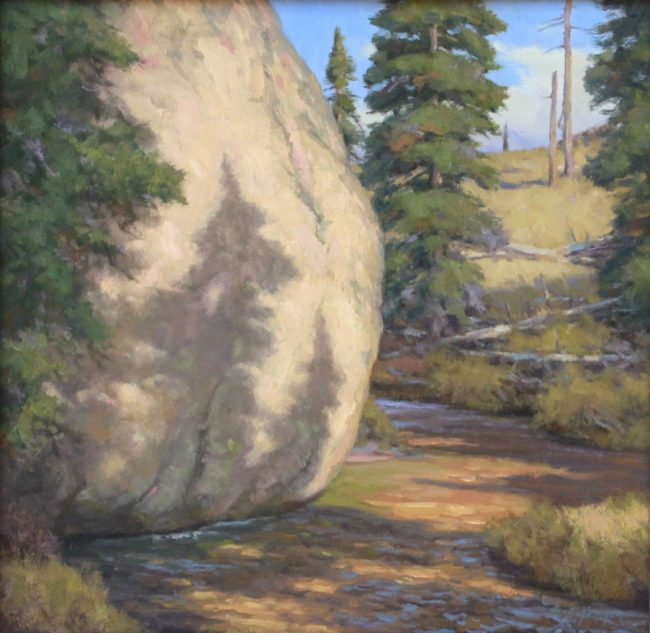 Scott Yeager Painting Water Verses Granite Oil on Board
