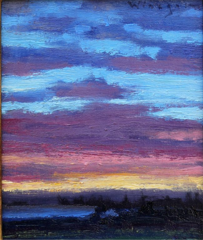 Seth Winegar Painting Light Across the Clouds Oil on Panel