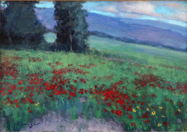 Seth Winegar Painting Mountainside Poppies Oil on Panel