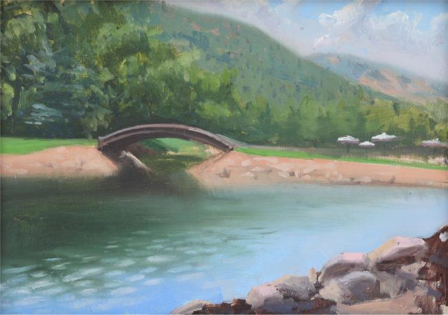 Andrea Kemp Painting Over the Bridge Oil on Board
