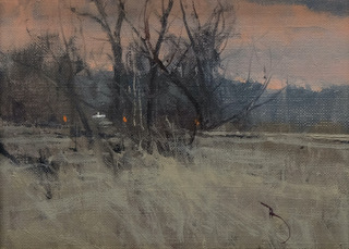 Ben Bauer Painting Three Hunters and a White Pick-Up Oil on Board