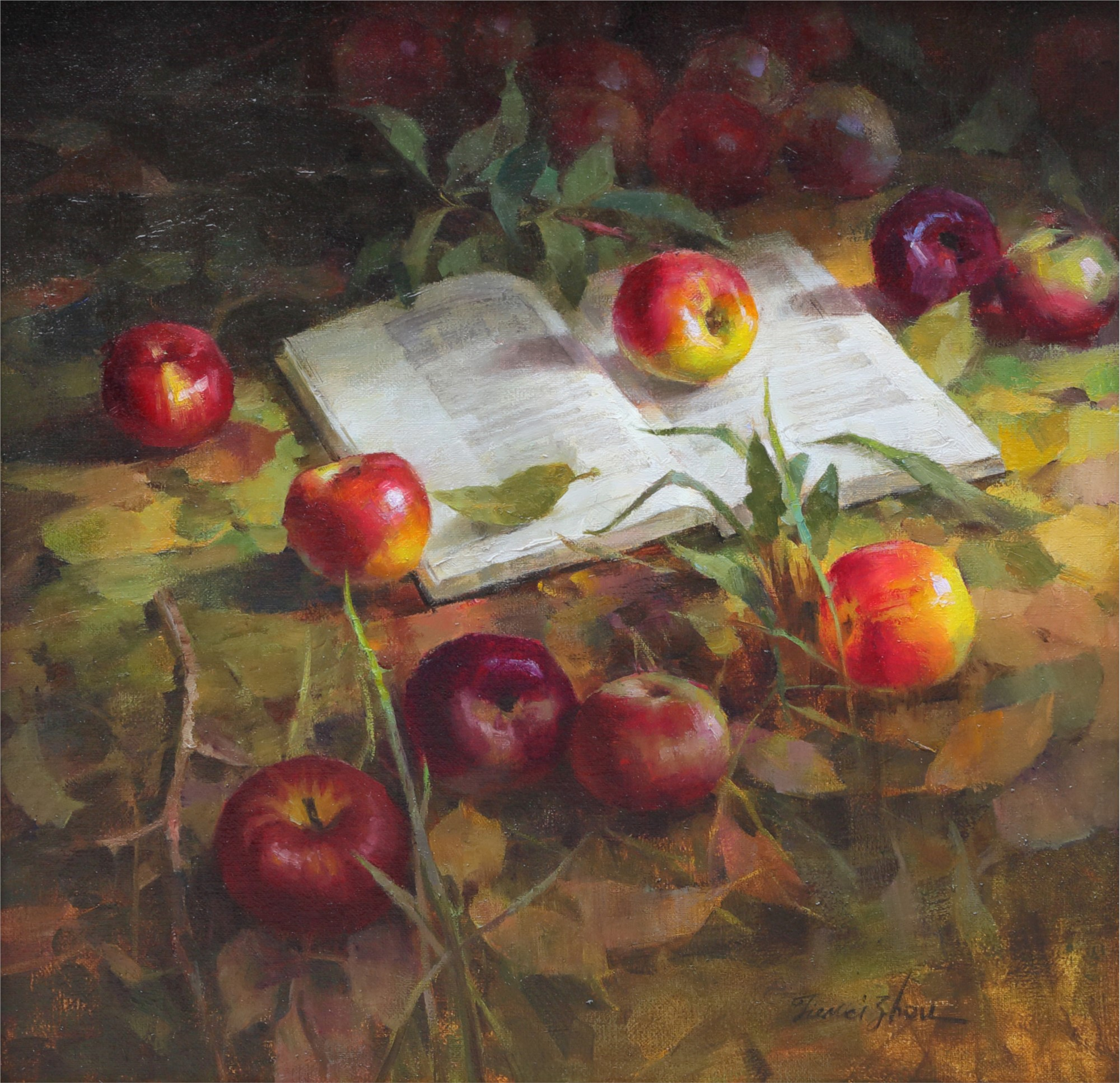 Jie Wei Zhou Painting Apples and A Book Oil on Linen