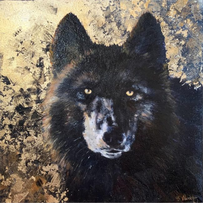 Sarah Woods Painting Black Magic Oil and Gold Leaf on Board