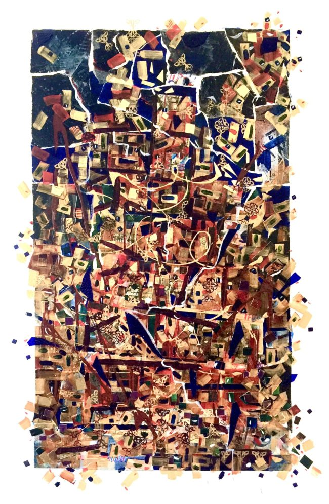 Sara Ware Howsam Painting Tower of Babel Acrylic Mixed Media on Paper