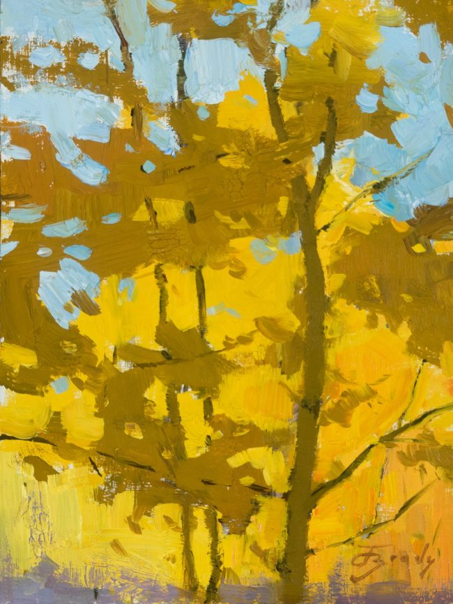 Jared Brady Painting Rhythms of Gold Oil on Linen