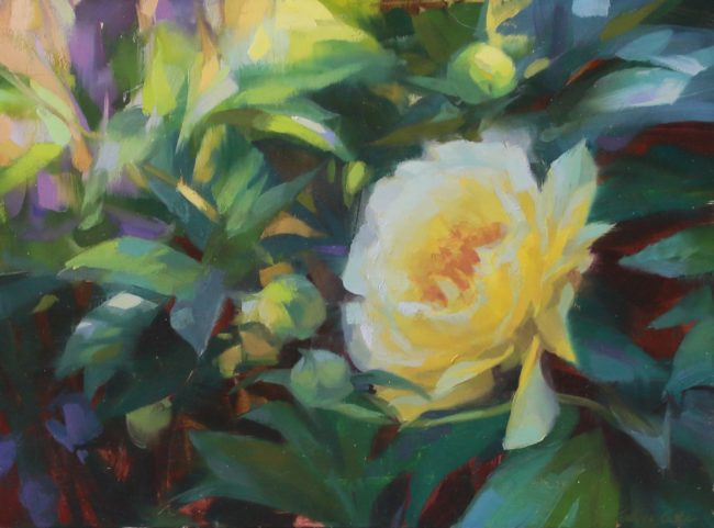 Robin Cole Painting Dappled Spring Oil on Board