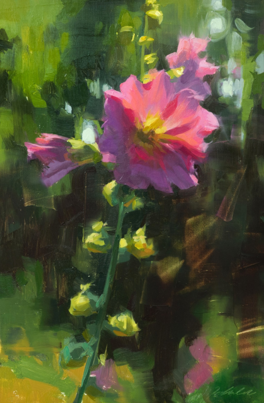 Robin Cole Painting Morning Hollyhock II Oil on Panel