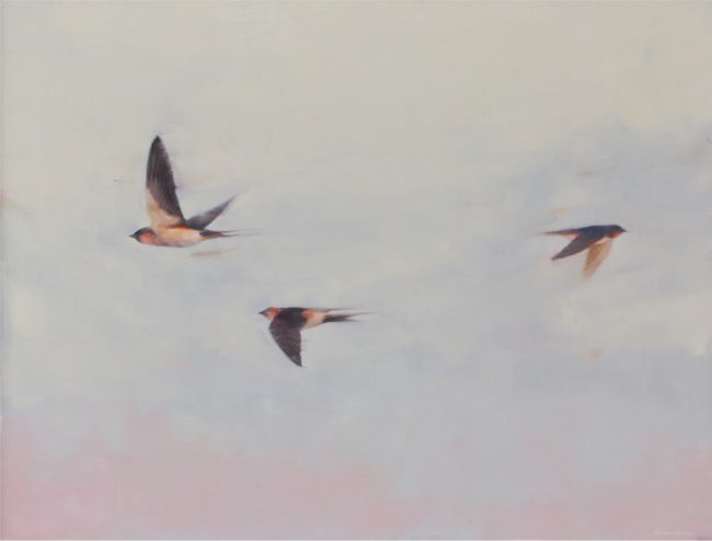 Robin Cole Painting Three Birds Oil on Board
