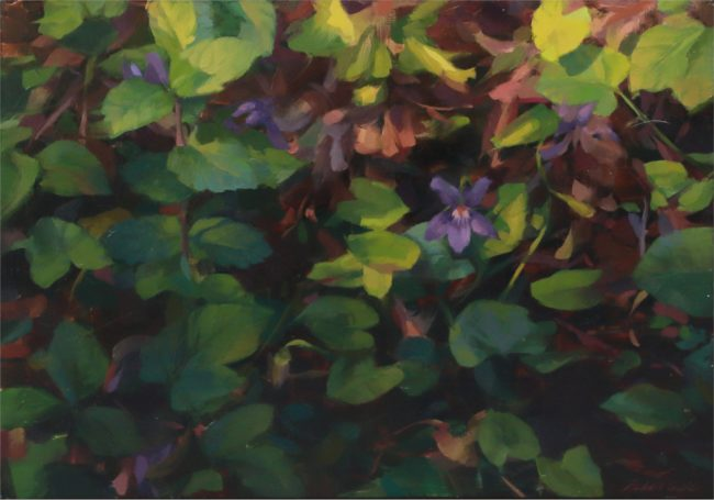 Robin Cole Painting Violets Under Foot Oil on Board
